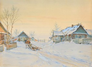 Village In Winter by Mikhail Abramovich BALUNIN