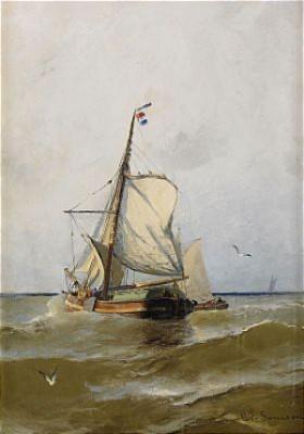 Fransk Segelskuta Vid Halländska Kusten by Christian Fredrik SWENSSON