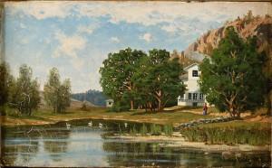 Sommarlandskap Med Hus Vid Strand by Julius WEIDIG