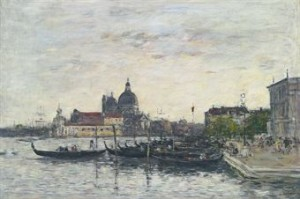 Venise. Le Môle à L'entrée Du Grand Canal Et La Salute Le Soir by Eugène Louis BOUDIN