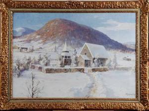 Kyrka I Vinterlandskap by Fritz Von ROSENTHAL