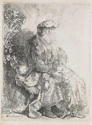 Abraham Caressing Isaac by Rembrandt Harmenszoon Van RIJN