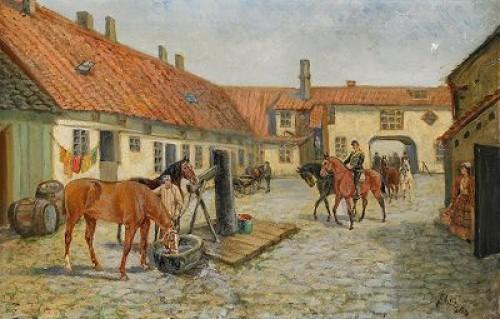 Gårdsinteriör Med Kavallerister Och Hästar by John ARSENIUS