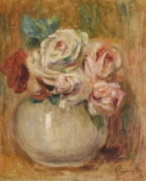 Roses Dans Un Vase, Fragment by Pierre Auguste RENOIR