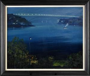 Nattvy över Västerbron - Stockholm by Gustaf Adolf Engelbert 'Bertel' BERTEL-NORDSTRÖM