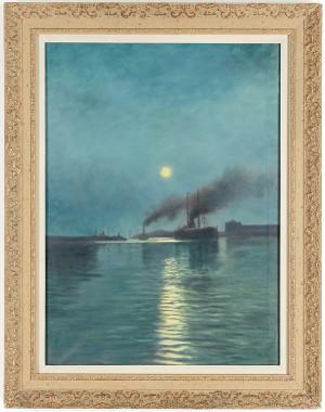 Fraktfartyg I Månsken by Karl 'Xylografen' ANDERSSON
