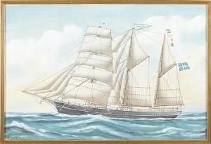 Fartygsporträtt Av Tremastade Skonerten