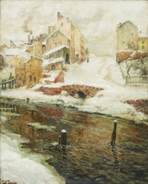 Faubourg De Christiania, Neige by Frits THAULOW