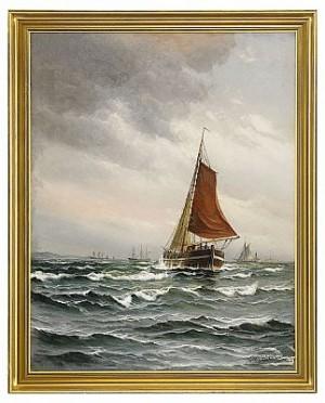 Segelfartyg På Böljande Vågor by Vilhelm Victor BILLE