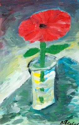 Red Flower In A Vase by Vladimir Igorevich YAKOVLEV