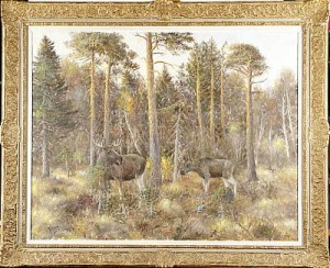 älgar I Tallskog by Johannes RAVN