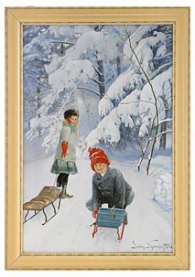 Kälkåkande Barn by Jenny NYSTRÖM