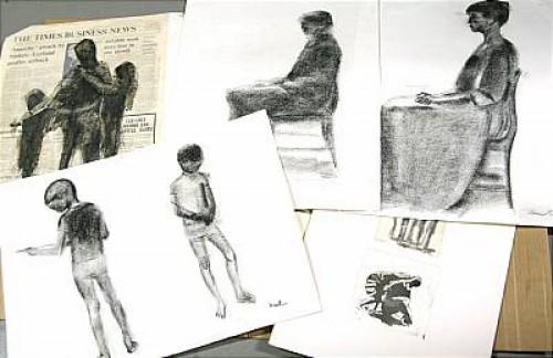 Tusch- Och Kolteckningar, 6 St, Etsningar, 11 St by Louis BASTIN