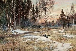 Vårlandskap, Grangärde by Anshelm SCHULTZBERG