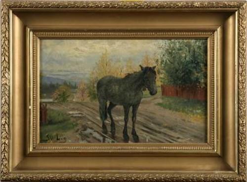 Häst Vid Landsväg by Sven LINNBORG