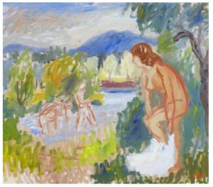Badande Vid Sjön Salungen, Mangskog, Värmland by Erling ÄRLINGSSON
