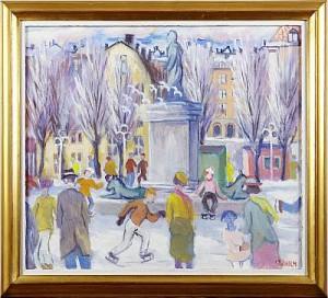 Skridskoåkare I Kungsträdgården by Charles SJÖHOLM