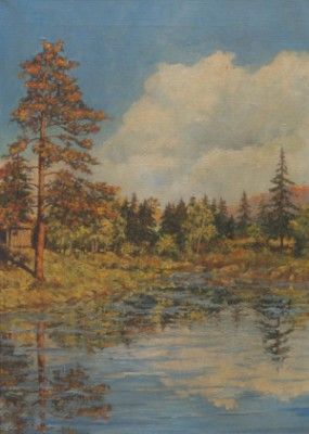 Wooded Landscape With Reflecting Lake by Louis SPARRE
