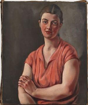 Kvinna I Rött by Hans EKEGÅRDH