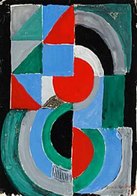 Grön, Röd, Blå Komposition. (nr. 866) by Sonia DELAUNAY