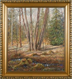 Vårlandskap Med Träd Och Blåsippor by Algot RINGSTRÖM