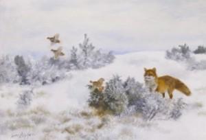 Räv Och Orrhöns I Vinterlandskap by Bruno LILJEFORS