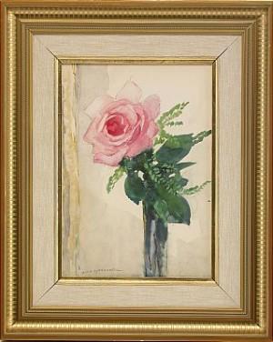 Stilleben Med Rosa Ros by Olle HJORTZBERG