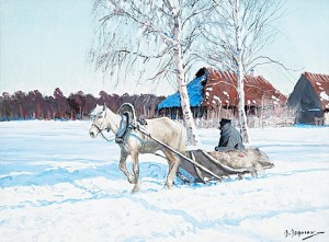 Horse And Sleigh by Andrei Afanasievich YEGOROV