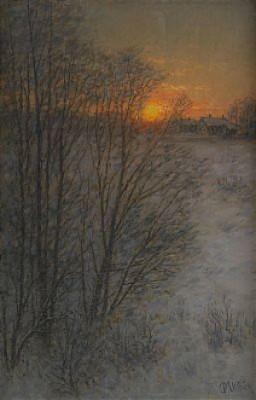 Vinterlandskap I Solnedgång by Per EKSTRÖM