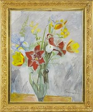 Blomsterstilleben Med Amaryllis Och Gula Tulpaner by Isaac GRÜNEWALD