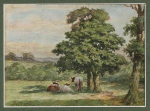 Pastoralt Motiv Med Kor Under Träd by Joseph Dixon CLARK