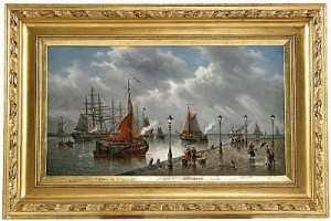 Journée Pluvieuse Le Quai De Nordrecht - Hollande by Auguste MUSIN