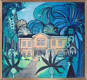Motiv Av Surrealistisk Trädgård Med Svävande Porträtt by Bo Erik 'Bo E.' LUNDQVIST