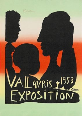 Exposition Vallauris 1953, Signed Picasso In Red Crayon by Pablo PICASSO
