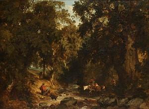 Landskap Med Träd Och Figurer by Henry JUTSUM