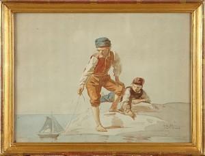 Pojkar Med Segelbåt by Johan Zacharias BLACKSTADIUS