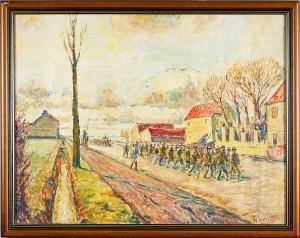 Kaserner Samt Marscherande Soldater by Alfred Hermann HELBERGER