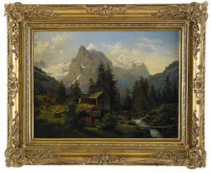 Bergslandskap Med Vandrare Och Kvarnbyggnad by Edward BERGH