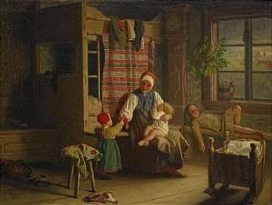 Allmogeinteriör Med Kvinna Och Barn by Gottfrid VIRGIN