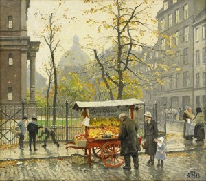 Vid Frimanslogen - Fruktvagn I Köpenhamn by Paul FISCHER