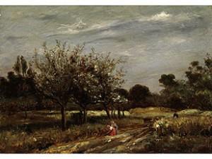 Landschaft Mit Blühenden Obstbäumen Und Zwei Frauen Am Wegrand by Adolphe APPIAN