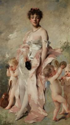 Junge Frau Im Ballkleid Mit Putten by Charles CHAPLIN