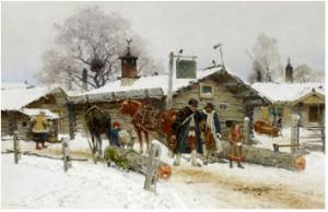 Timmerkörare Utanför Ett Värdshus I Dalarna by Olof ARBORELIUS