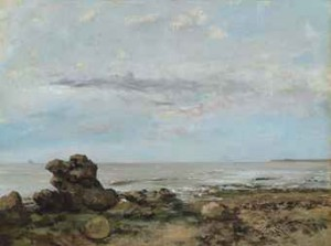 The Beach At Trouville by Gustave COURBET