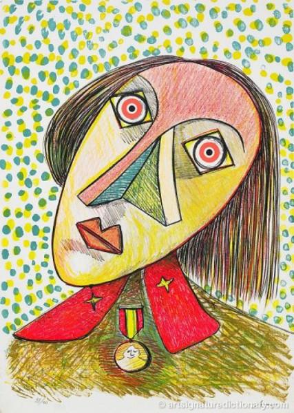 Portrait De Lady Abigail Masham by Enrico BAJ