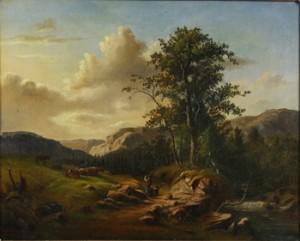 Landskap Med Figurer Och Kor by Frans Johan ROSELLI