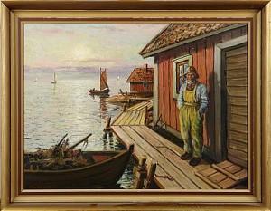 Västkustmotiv Med Fiskare by Sten EKENDAHL