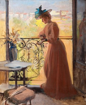 Lady On The Balcony, La Parisienne by Albert EDELFELT