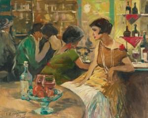 Au Café by Elie Anatole PAVIL