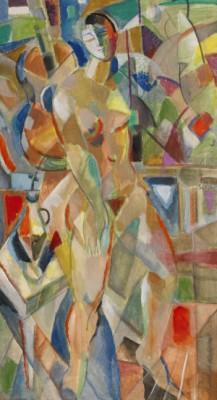 Kubistisk Komposition Med Kvinnlig Modell I Interiör by Jules SCHYL